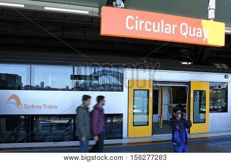 Passengers Get Off Sydney Trains At Circular Quay Station In Sydney, Australia.