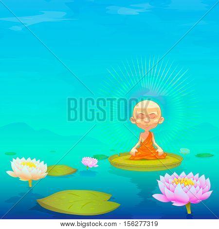 Meditating. Monk. Vector cartoon illustration. Little monk on a beautiful background.