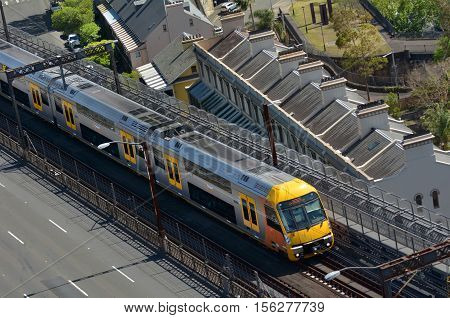 Aerial View Of Sydney Trains In Sydney New South Wales Australia