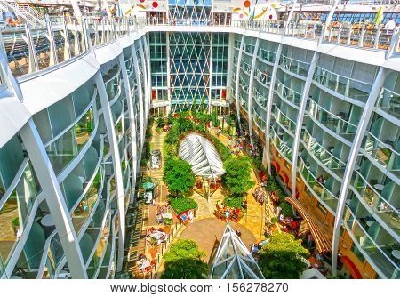 Barselona Spaine - September 06 2015: Royal Caribbean Allure of the Seas sailing from Barselona on September 6 2015. The second largest passenger ship constructed behind sister ship Oasis of the Seas. View of central park