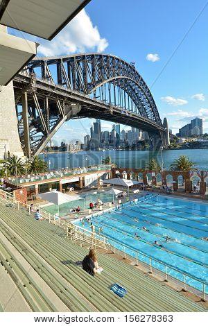 People Swim In North Sydney Olympic Pool Sydney New South Wales Australia