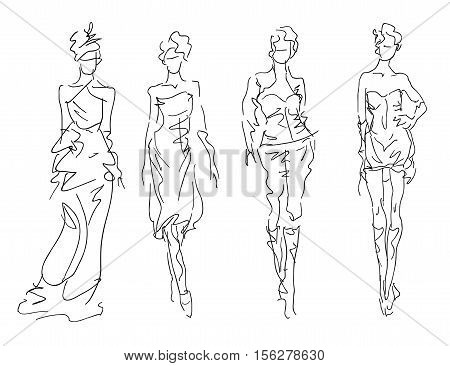 Sketch Fashion Poses - stylized women, vector