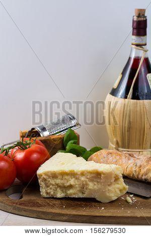 Best Italian food - fresh pecorino cheese on olive wood board