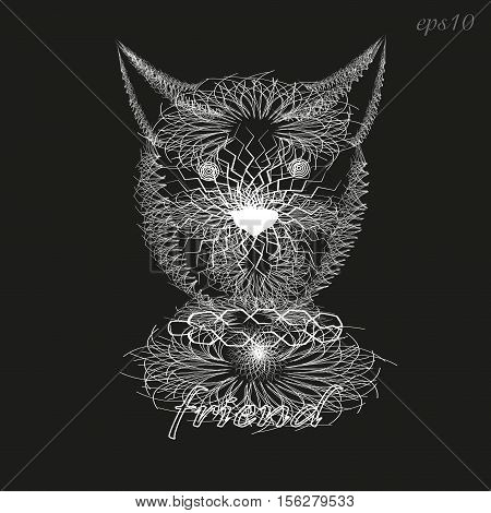 White dog pattern sketch Abstract design style sketch writer handmade tattoo line white mammal ears eyes nose portrait collar text background eps10 vector illustration Stock