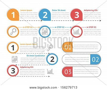 Four simple templates for process infographics, can be used as steps, workflow diagrams, options etc, vector eps10 illustration