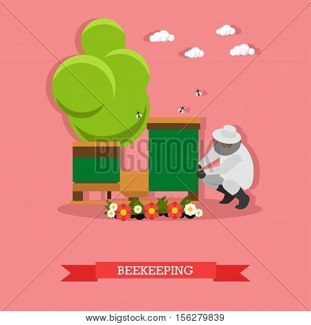 Man in the white protective suit, sitting next to the beehive and doing beekeeping in the village. Special equipment. Vector illustration in flat design