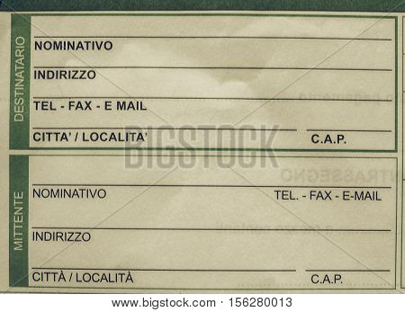 Vintage Looking Italian Mail Form