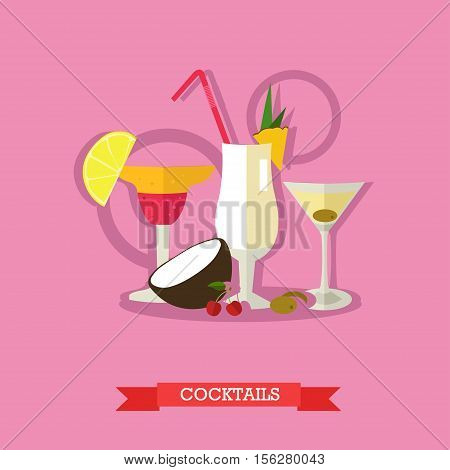 Vector illustration of three glasses alcoholic cocktails with tropical fruits. Popular alcoholic beverages, Margarita, Pina colada and Dry Martini. Flat design