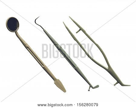Vintage Looking Dentist Tools Isolated