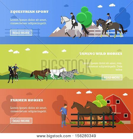 Set of horizontal banners of horses theme. Equestrian sport, taming wild horses, farmer horses. Vector illustration in flat design poster