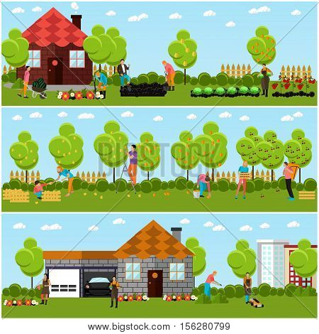 Vector banners of gardening, horticulture. Picking fruits, harvesting vegetables from garden patch, take care of the garden, mowing lawn. Gardening, agriculture and horticulture. Flat design
