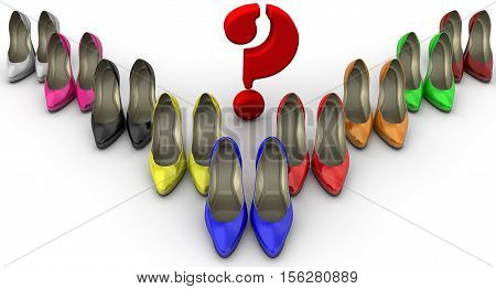 The color selection of women's shoes. The concept. A lot of multi colored women's shoes with high heels standing on a white surface with a red question symbol. 3D Illustration. Isolated