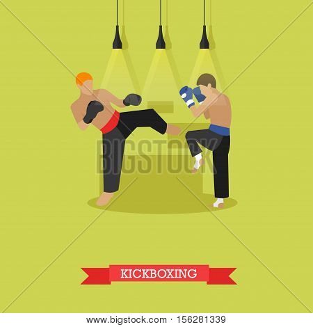 Two young kickboxer in boxing gloves training and working out kicks. Kickboxer hits a side kick to the opponent feet trying to break his block. Vector illustration in flat design