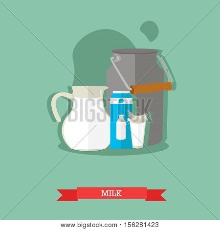 Vector illustration of milk jug, can, a carton with a picture of a milk bottle and a glass with a splash of milk. Popular natural drink. Flat design