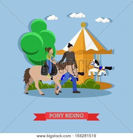 Hostler teaches children to ride pony at amusement park. Behind them is a large childrens carousel. Vector illustration in flat design