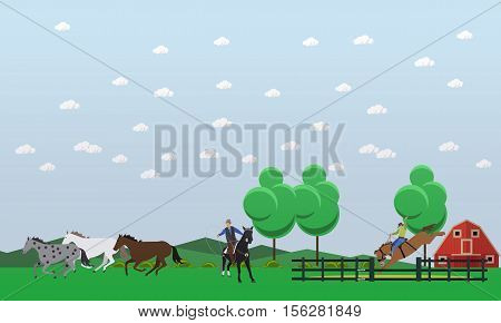 Banner of taming and dressage horses. Wild horses running around, american rodeo and cowboy with lasso. Vector illustration in flat design.
