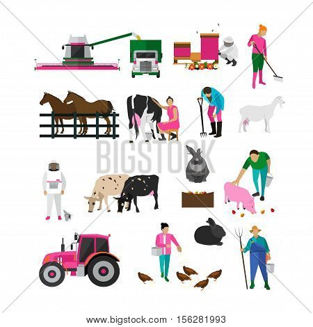 Set of village people activities with different special equipment. Feeding animals, cattle breeding, harvesting wheat, beekeeping, digging, milking. Agriculture, farming. Flat design