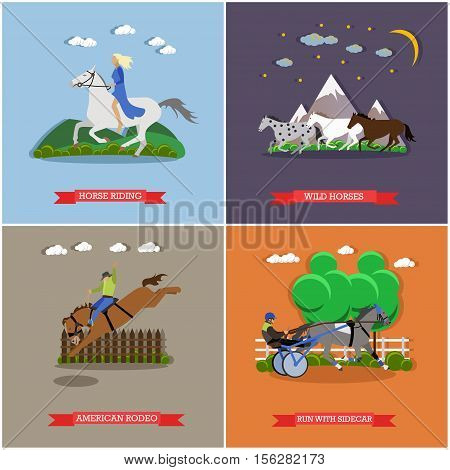 Vector set of wild and domestic horses. Wild horses gallop through the mountains, harness horse racing, free horse riding and american rodeo. Flat design
