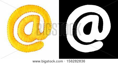 Handmade E-Mail simbol from felt isolate on white background with alpha mask