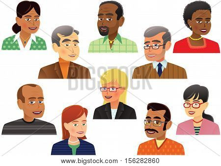 Ten individual and unique middle aged people's head and shoulder portraits.