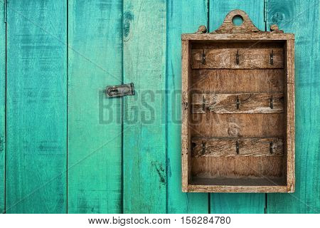 Primitive Vintage Key Cabinet Wooden Hanging Wall Box. hotel booking background concept