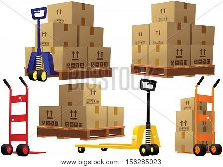 Various illustrations of hand trucks you would find in a modern warehouse, wooden pallets and cardboard boxes.
