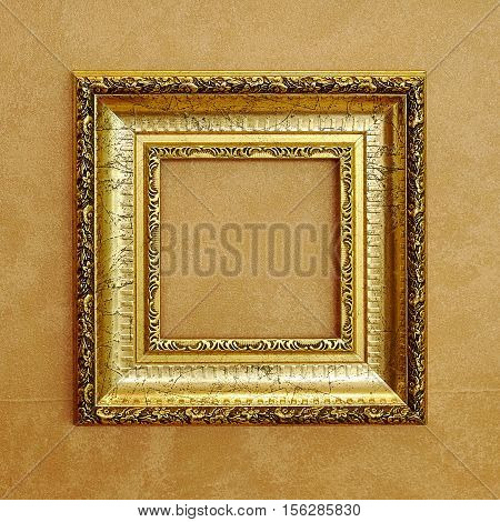 picture blank frame Brown canvas vintage background.