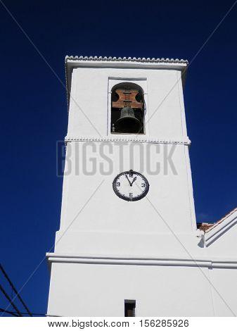 Belfry on church in Mecina Bombaron Alpujara Andalusia Spain