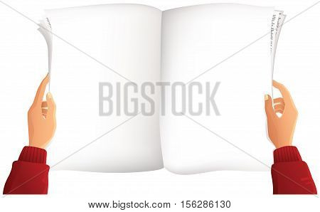 A first person view of a blank newspaper being held by a pair of hands and ready for your own message.