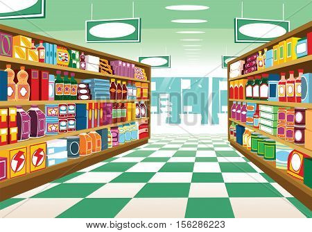 An illustration of a generic supermarket aisle.