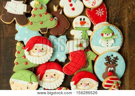 Delicious Christmas Cookies on wooden table