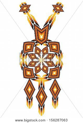Vector Ethnic necklace Embroidery for fashion women. Mexican, indian tribal pattern for print or web design. jewelry, necklace, print on fabric.