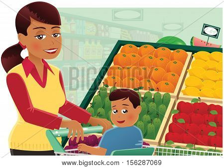 An image of a young mother at the supermarket with her child.