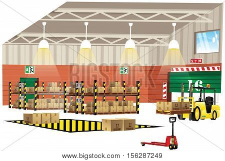 A cutaway illustration of the interior of a modern warehouse building.
