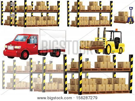 Some illustrations of warehouse racking and boxes, plus a delivery truck and forklift.