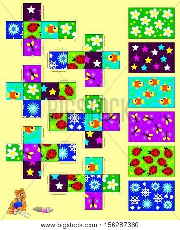 Template with exercise for children. Cut out and glue the six cubes, then gather six pictures. Developing skills for handwork. Vector image.