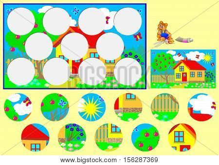 Template with exercise for children. Need to cut the circles and glue them in relevant places. Developing skills for handwork. Vector image.