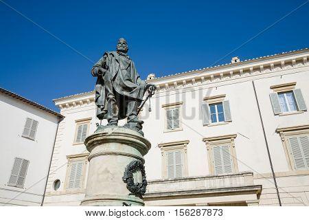 The late 19th century statue of Giuseppe Garibaldi standing in the Garibaldi square in the town of Foligno in Umbria Italy