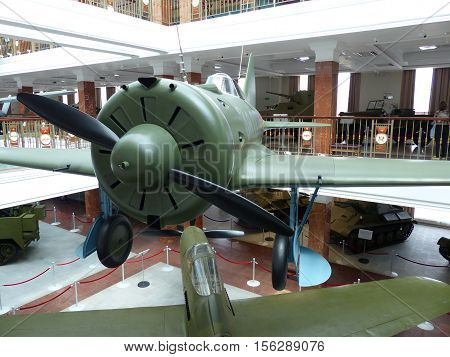 Upper Pyshma, Russia - July 02, 2016: Soviet fighter aircraft I-16 - exhibit of the Museum of military equipment. Interior of the Museum of military. 1941-1945,  II World War