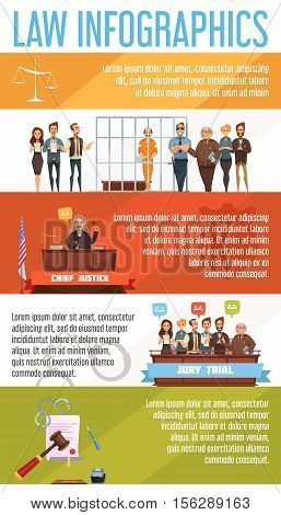 Law and justice legal system  infographic presentation retro cartoon banners set poster with court trial proceedings vector illustration