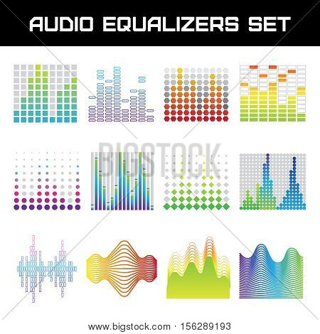 Bright audio equalizer set with sound waves symbols flat isolated vector illustration