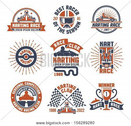 Red and blue color logo and emblems flat set for karting motor race club isolated vector illustration