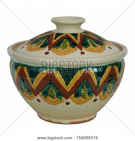 Ceramic pot with lid for soup. The product is handmade of clay. Painting in the technique Kosovo ceramics - it really authentic Ukrainian technique of painting on clay. Isolated on a white background