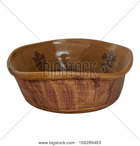 Ceramic monochrome salad bowl of handmade clay. Salad bowl decorated with an ornament. Isolated on a white background