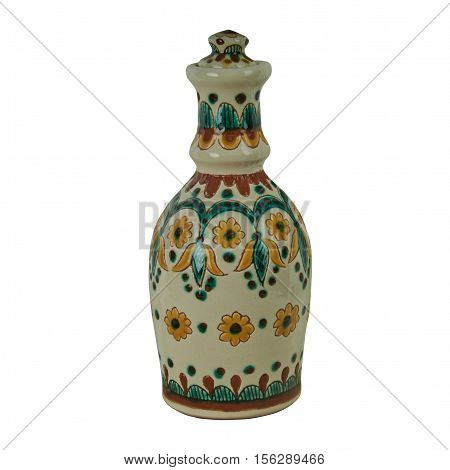 Ceramic bottle with stopper. The product is handmade of clay. Painting in the technique Kosovo ceramics - it really authentic Ukrainian technique of painting on clay. Isolated on a white background