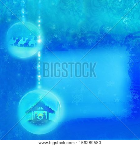 Christian Christmas nativity scene of baby Jesus in transparent ball hanging on abstract background , raster