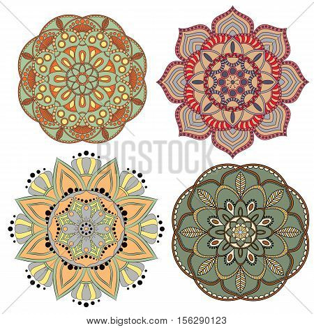 Set Of Colorful Mandalas. Decorative Round Ornaments. Anti-stress Therapy Patterns. Weave Design Ele