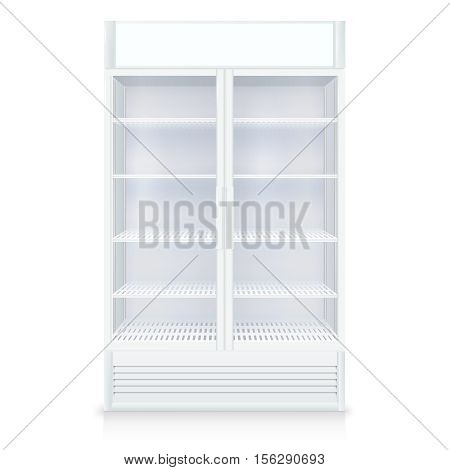 Realistic empty freezer with transparent door and shelves in white colors isolated vector illustration