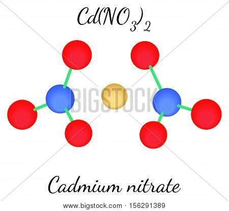 Cadmium nitrate CdN2O6 molecule isolated on white