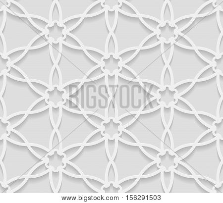 Seamless arabic geometric pattern 3D white background indian ornament persian motif vector texture. Endless texture are suitable for web page background as background desktop PC etc.